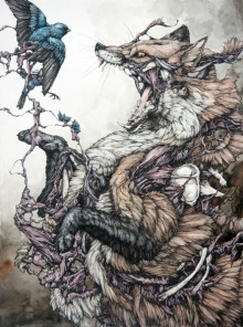 red_fox_and_indigo_bunting_lauren_marx_alive1